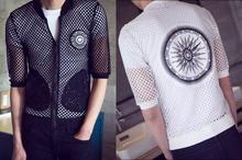 New Men's Summer Fishnet Half Sleeve Slim Fit Cool Baseball Jacket Coat Black White