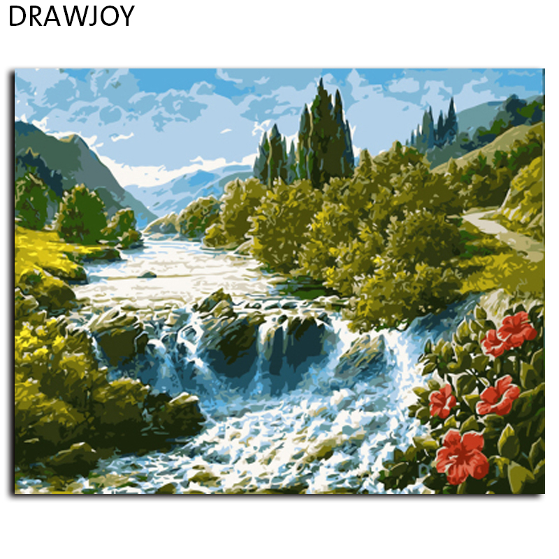 DRAWJOY Landscape Framed Pictures Painting By Numbers Wall Art DIY Canvas Oil Painting Home Decor GX7362 40*50cm(China (Mainland))