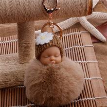 Dropshipping Bebê Dormindo Boneca Bola Cadeia Chave Do Carro Titular Saco Chaveiro Pingente Charme Chaveiro de Pelúcia Pele New Mulheres Bonitos Chave(China)