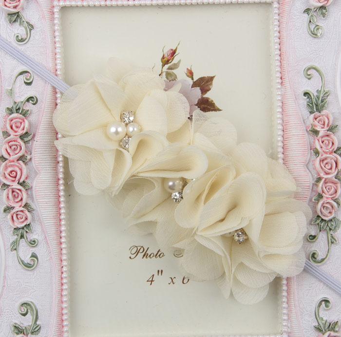 Розничная торговля младенцами женского оголовье жемчужина алмаз 3 цветы с тонкой лентой девушки волосы аксессуары падение судоходство