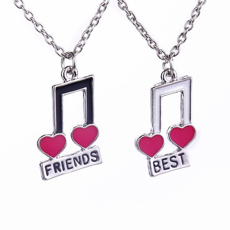 Women Fashion Jewelry Music Notes Best Friend For 2 BFF Heart Music Note Best Friends Forever Friendship Pendant Necklace Gift(China (Mainland))