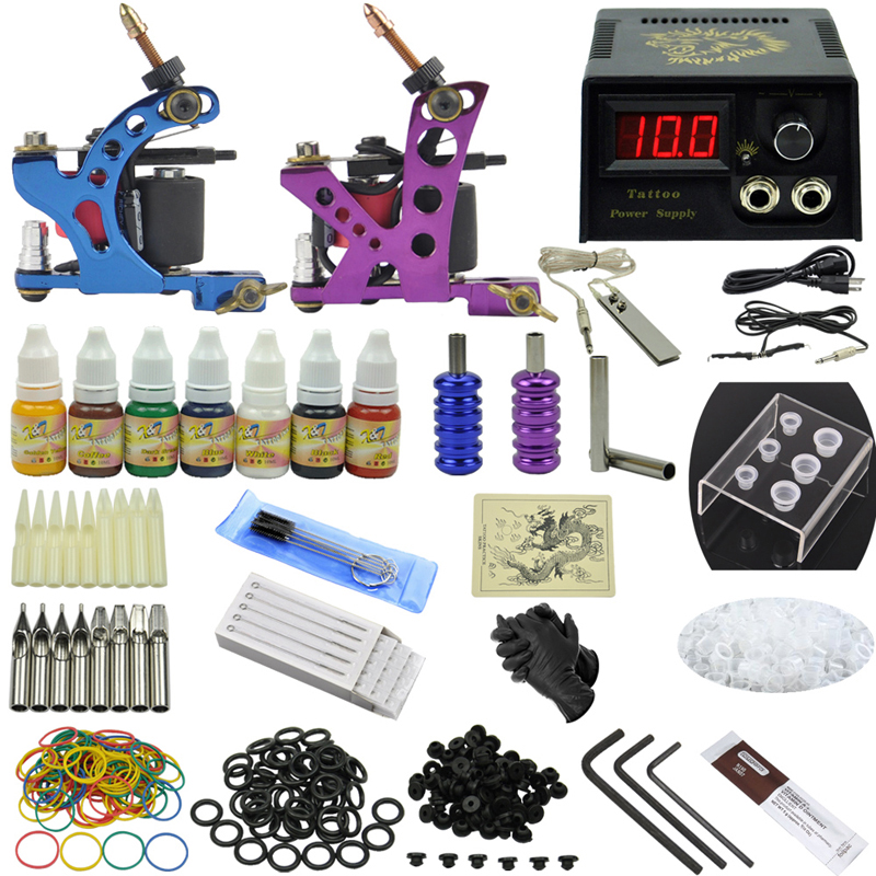 OPHIR 346pcs Pro Complete Tattoo Kit Body Tatto Art 2 Tattoo Gun Machine Grip Needle 7x Inks Including Tattoo Accessories_TA068(China (Mainland))