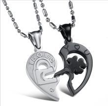 "Free Shipping 3Set Couple Lover Women Men Love Heart Puzzle Pendant ""I Love you"" Key Rhinestone Necklace Set(China (Mainland))"