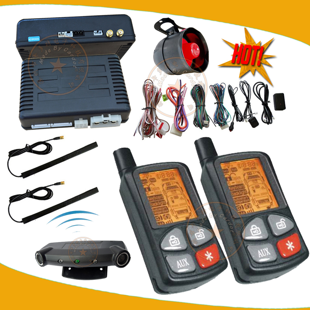 top PASSIVE car alarm,FM car security system,central lock automatication,ultrasonic sensor,LCD remote,remote start,keyless entry(China (Mainland))