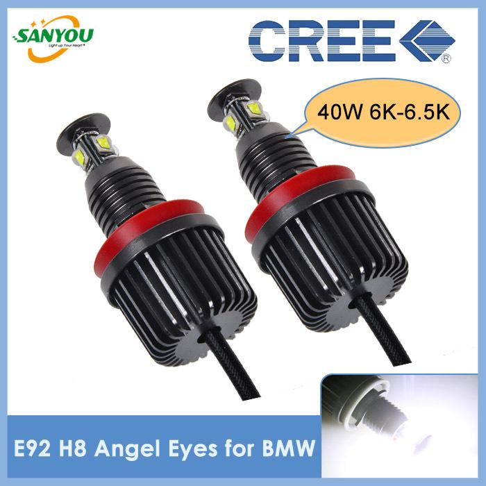 2014 Newest 1 Set E92 H8 40W Super Bright LED Marker Angel Eyes for BMW Headlight for BMW E60/E61/E90/E91/E92E93/F01/X1/X5/X6(China (Mainland))