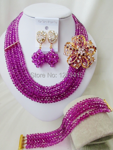 Luxurious wedding bead bead Africa Nigeria crystal necklace bracelet sets bridal jewelry set A935<br><br>Aliexpress