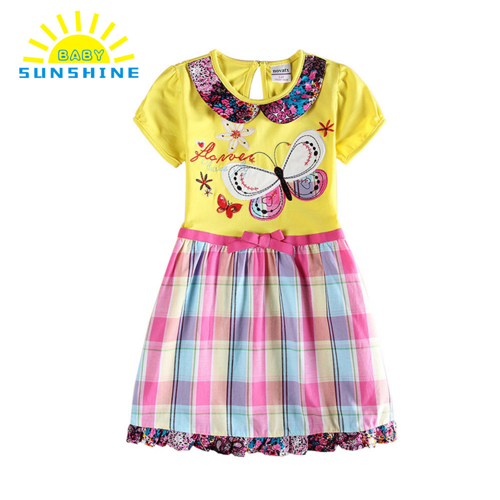 Sweet baby girl clothes embroidery butterfly floral print