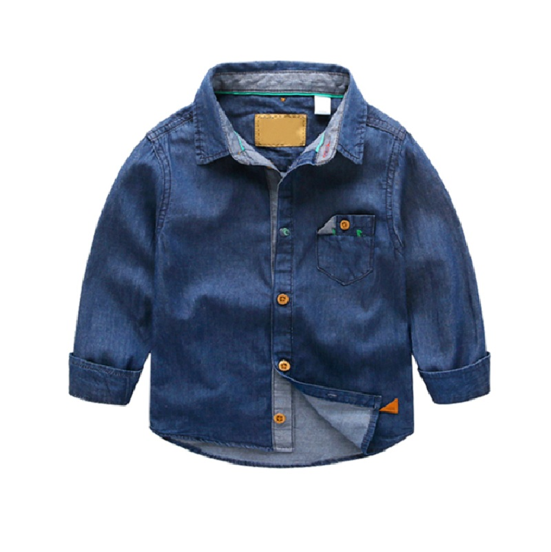 2016 Spring Kids Denim Shirt Boys Jeans Blue Blouses For Girls Cotton Casual Long Sleeve Turndown Collar Blue Clothing Set USA