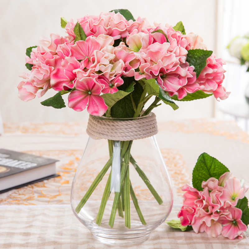 Artificial Hydrangea Flower Real Touch small PU Hydrangea artificial succulent artificial flowers for home furnishing decoration(China (Mainland))