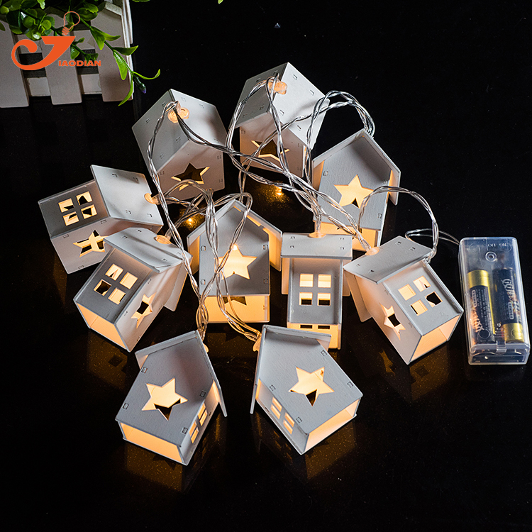 Wooden Home Decoration Star Lights10led Wood House Indoor