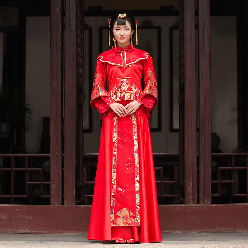 Quality Chinese Style Wedding Dress Costume Show Bride Dress Clothes Pratensis Tang Suit Kimono