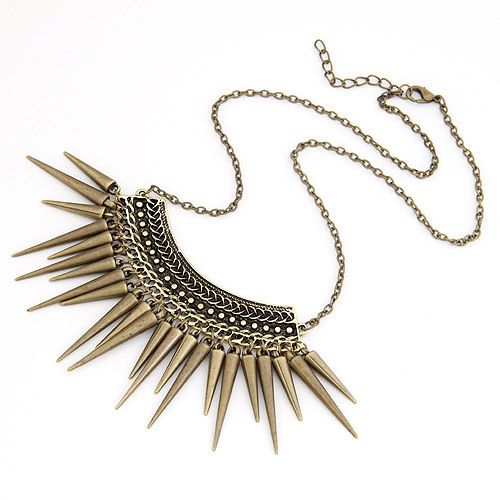 New Vintage Jewelry Punk Spike Statement Necklaces Pendants Choker Collier Collares for women 2015 Accessories Bijuterias(China (Mainland))