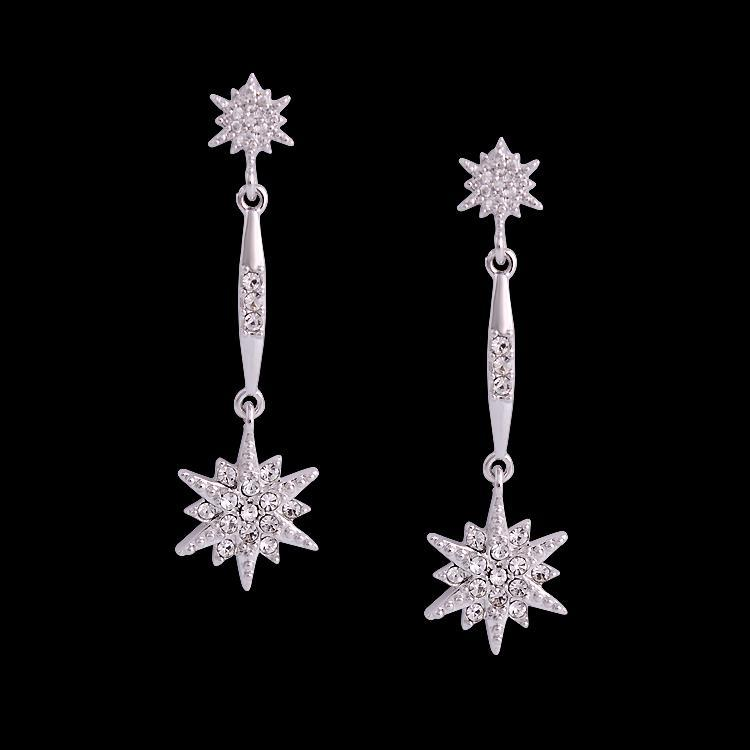 Exquisite Design Austria Crystal Long Earrings Silver Plated Snowflake Women Statement Jewelry Pendientes - Atolla Global Flagship Store store