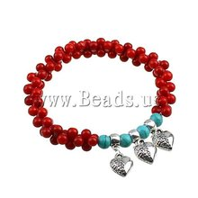 Free Shipping 10Strands/Lot stretch bracelet synthetic red coral beads heart shape zinc alloy charms Turquoise Coral Bracelet(China (Mainland))