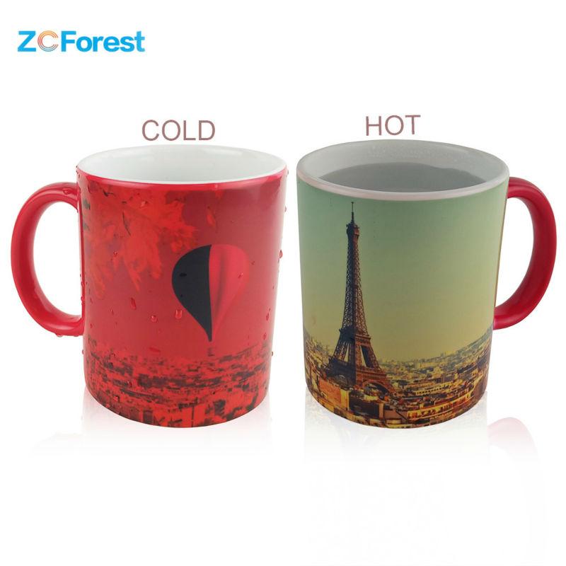 Magic Mug Heat Sensitive Color Changing Coffee Mugs 350ml 12 oz Ceramic Hot Cold Colour Change Tea Mug Cup Designs One Piece(China (Mainland))