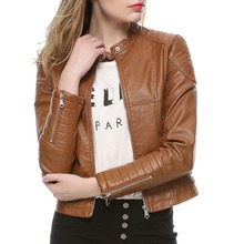 2016 Fashion Women Elegant Zipper Faux Leather Biker Jacket in Brown Black Slim Ladies Coat Casual brand Motorcycle Leather Coat(China (Mainland))