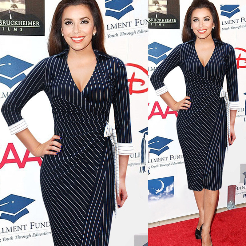 2016 New Women Sexy Elegant V-Neck Collar Wrapped Belted Bow Striped Party Office Work Business Bodycon Sheath Pencil Dress(China (Mainland))
