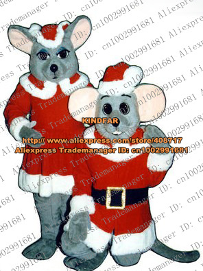 Happy Gray Christmas Xmas Mouse Rat Mice Mascot Costume Adult Size With Red Christmas Hat Big Water Pink Ears No.5336 Free Ship(China (Mainland))