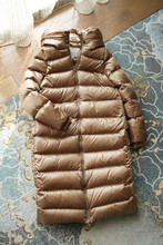 Shiny Thick Warm X-Long Down Coat 300G Whie Duck Feather Filler Cocoon Shape Down Coats -20 degrees OK Black Wine Gold Camel(China (Mainland))