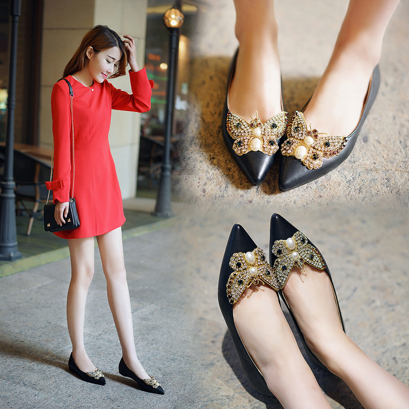 New Arrival Women Elevator Genuine Leather Shallow Mouth Shoes Pointed Toe Flat Heel Shoes Rhinestone Sweet Bow Shoes<br><br>Aliexpress