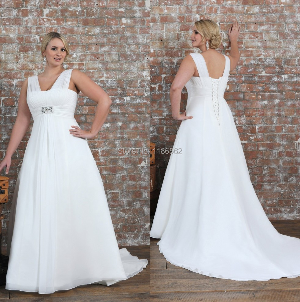 Wedding Simple White Wedding Dresses popular white simple wedding dresses buy cheap discount crystal beaded plus size bride 2015 chiffon gown empire waist