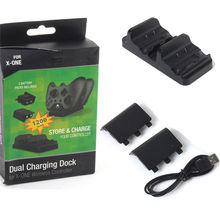 Brand New DC 5V Black 1x Dual Dock Station Charger 2x Dock Battery 1x USB Charge Cable For XBOX ONE Wireless Controlle