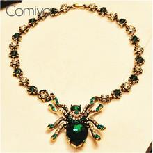 Comiya большой моды паук синий зеленый кристалл кулон ожерелье для женщин аксессуары shourouk старинные ювелирные изделия шерлок вечернее дрес(China (Mainland))