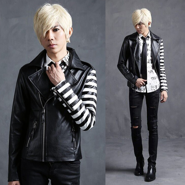 different sleeve cool punk rock leather jackets for men