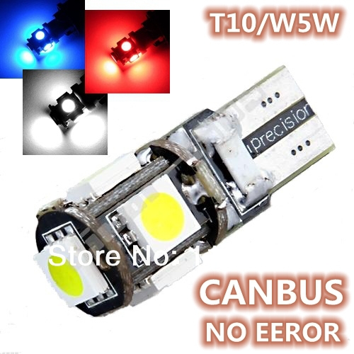 Free Shipping 10pcs/lot T10 5 smd 5050 led Canbus Error Free Car Lights W5W 194 5SMD LIGHT BULBS NO OBC ERROR White/Blue/Red(China (Mainland))