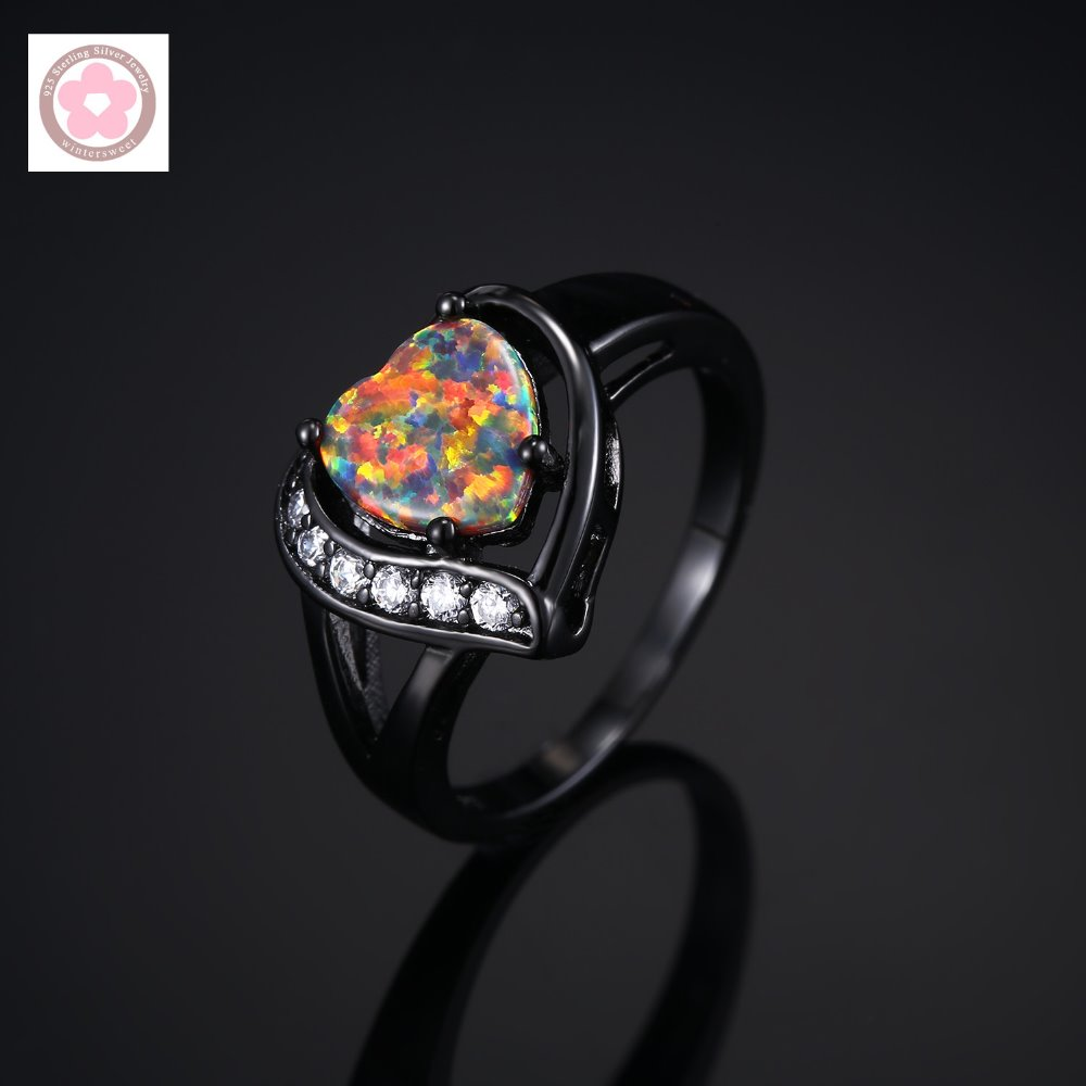 Hot Sale Black Gold Filled AAA Orange Fire Opal And White Zircon Fashion Jewelry For Women Cocktail Ring JZ0019(China (Mainland))