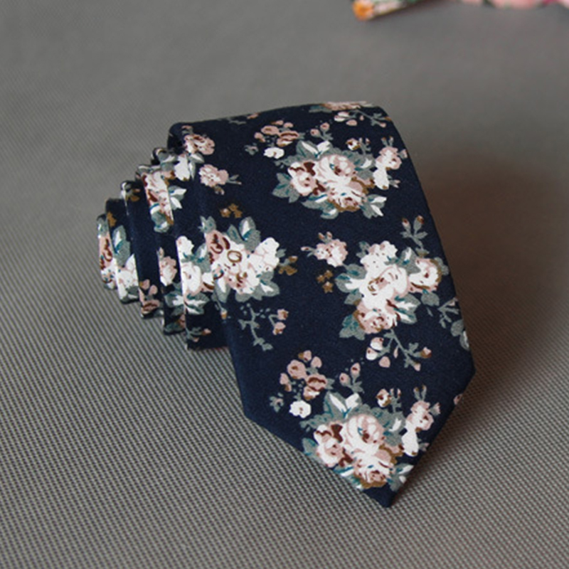 2016 Fashion Flower Dots Men Neck Ties for Adults Gold & Navy Blue Gentlemen Ties for Wedding Suit Floral Skinny Ties for Men(China (Mainland))
