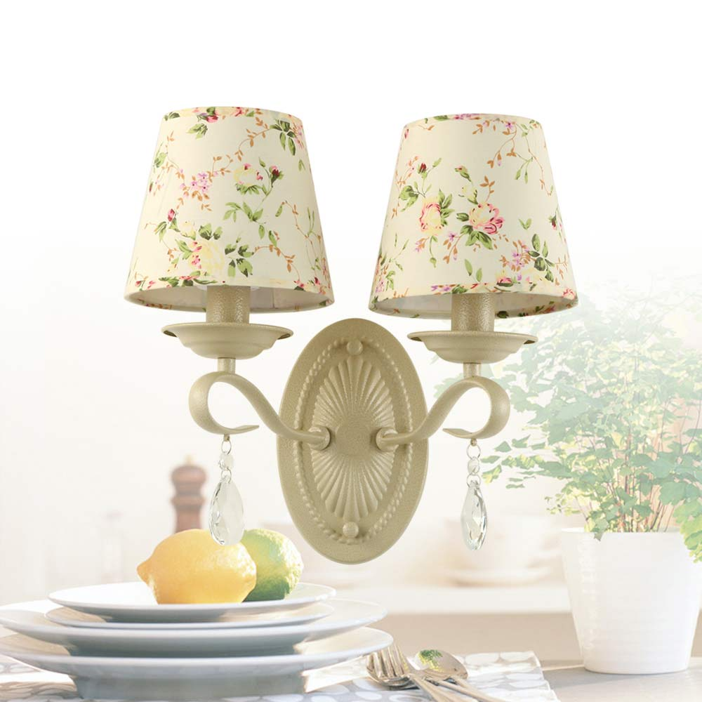 Mediterranean Style Crystal Wall Lamp Stair Aisle Sconce Light Blue Iron Checker Fabric Lampshade Home Fixtures E14 AC 110-240V<br><br>Aliexpress