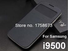 Smart Flip Case Screen Display view window Cover case For Samsung Galaxy S4 siv i9500 with Battery back Cover black
