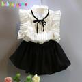 2 Piece 0 7Years Baby Girls Summer Clothes Sleeveless Stripe T shirt Lace Skirt Fashion Kids