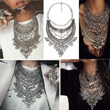 2016 Collar ZA Necklaces & Pendants Vintage Crystal Maxi Choker Statement Silver Collier Femme Boho Big Fashion Women Jewellery