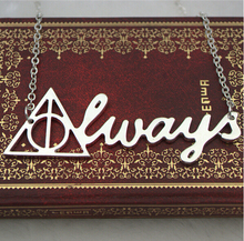 2015 Movie harry potter deathly hallows necklace50cm vintage retro silver harry potter always letter pendant for men and women(China (Mainland))