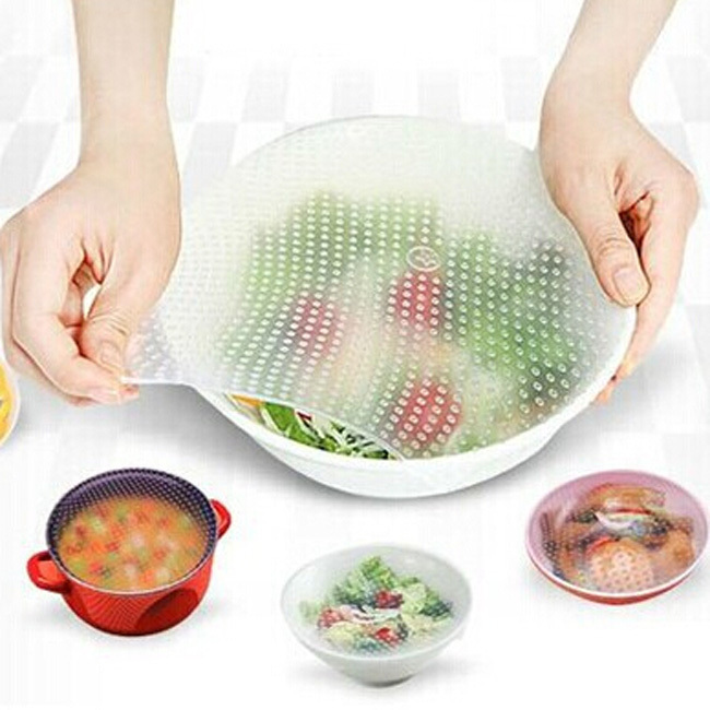 3pcs/lot Magic Packing Wrap Cling Film Seal Vacuum Food Multifunctional Food Fresh Keeping Plastic Wrap Relief Cover(China (Mainland))