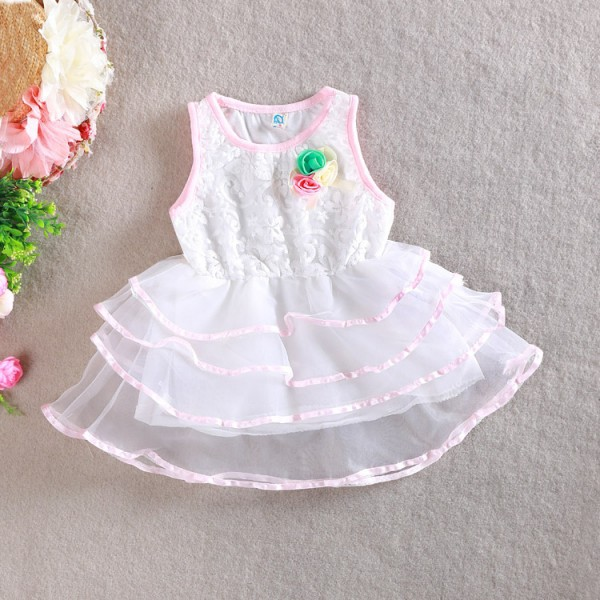 2015 summer girls dresses floral children princess dress lace flower baby girl dresses sleeveless girl dress WD3424<br><br>Aliexpress