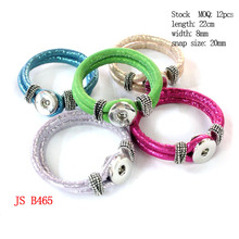 Buy  (12 pieces/lot) Multi Color Bling Jewelry PU Leather Interchangeable 18mm Snaps Leather Bracelet for $19.80 in AliExpress store