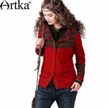 Artka ретро женская новая коллекция зимней одежды отложным воротником красный соединяющий этнический двусторонный жаккардовый шерстяный теплый пальто WB13842Q