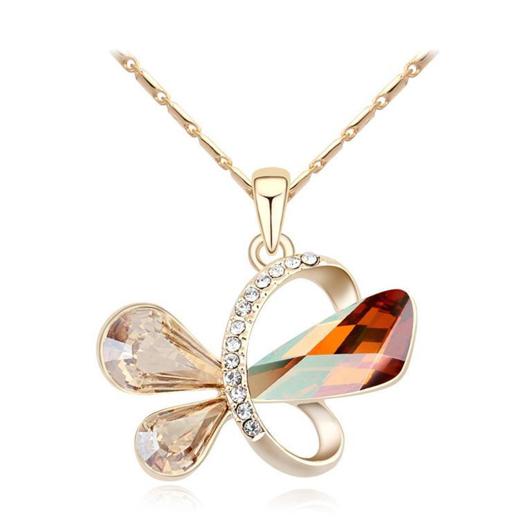 2015 Hign Quality Crystals from Swarovski Necklaces & Pendants Crystal with SWAROVSKI Love Necklace for Women Gift Jewelry(China (Mainland))
