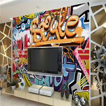 Wallpaper living room Wall graffiti Personality dimensional letters cafe bar KTV wall covering murals wall paper 3D home decor
