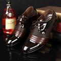 Derby shoes cheap men shoes leather 2017 big size 38 47 patchwork lace up men flat
