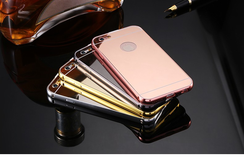 Mirror Case For iPhone 6 6s Aluminum Frame + Hard PC Plating Back Cover For iPhone 7 7 Plus Metal Phone Cover For iPhone 6 Plus