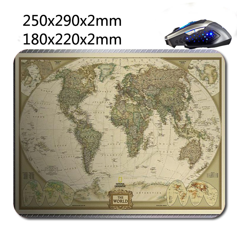National Geographic World Map Print Gaming Mouse Mat High Quality Durable Fashion Computer and Laptop Mouse Pad 220nn*180mm*2mm(China (Mainland))