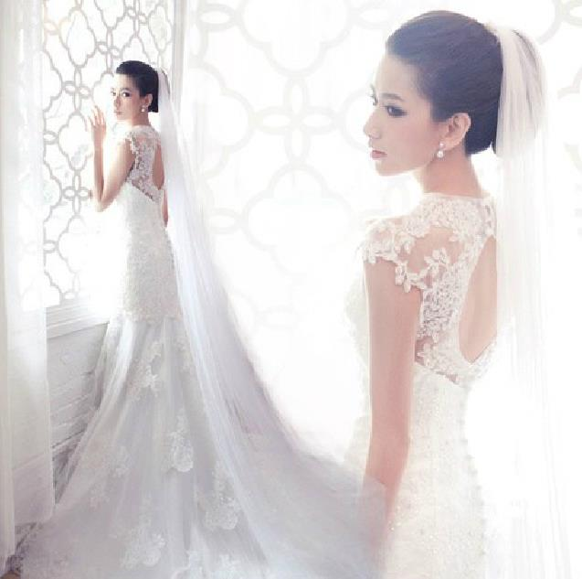 Free shipping 2015 new a line embroidery court train white for How to get a free wedding dress