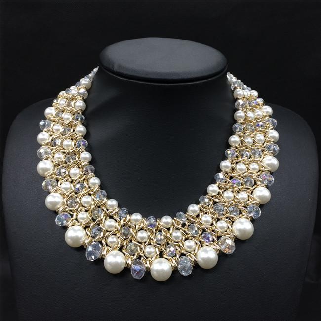 Aliexpress.com Comprar Tejido a mano grano cristalino de la perla Collar de Collar joyería moda mujer Collar Collar de la declaración 2015 nuevo diseño de