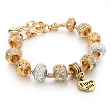 Valentine's Day 2016 Heart Charm Bracelets & Bangles Gold Plated Bracelets For Women Pulsera Famous Brand Jewellery SBR150074(China (Mainland))