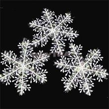 Christmas Ornament 15pcs/5pack White Plastic Christmas Snowflake Christmas Tree /Window Christmas Decorations For Home(China (Mainland))