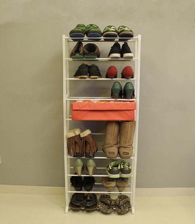 YoHere living room furniture white color shoe rack shelf 10 layers foldable easy assemble shoes storage hanger savings frame(China (Mainland))
